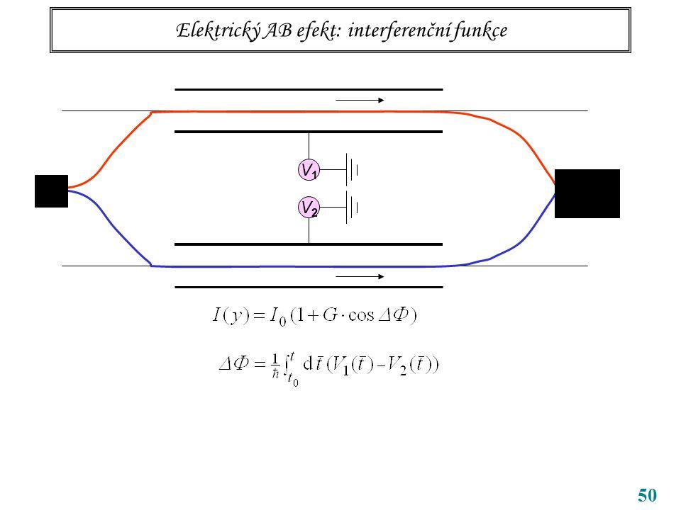 50 Elektrický AB efekt: interferenční funkce V1V1 V2V2
