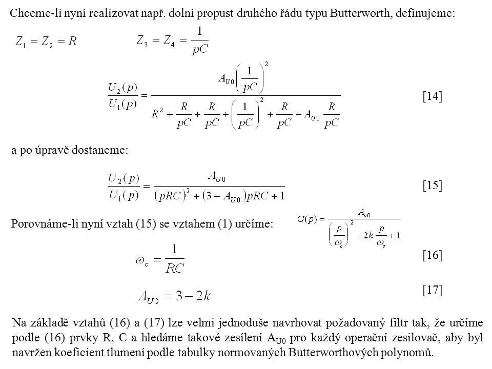 Návrh pásmových propustí pomocí filtrů polynomiálního typu Realizace pásmové propusti podle principu na následujícím obrázku má velkou výhodu v univerzálnosti použití.