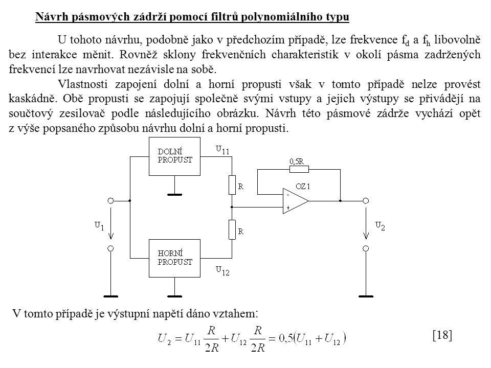 Návrh pásmových zádrží pomocí filtrů polynomiálního typu U tohoto návrhu, podobně jako v předchozím případě, lze frekvence f d a f h libovolně bez interakce měnit.