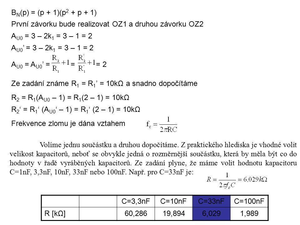 B N (p) = (p + 1)(p 2 + p + 1) První závorku bude realizovat OZ1 a druhou závorku OZ2 A U0 = 3 – 2k 1 = 3 – 1 = 2 A U0 ' = 3 – 2k 1 = 3 – 1 = 2 A U0 = A U0 ' = = = 2 Ze zadání známe R 1 = R 1 ' = 10kΩ a snadno dopočítáme R 2 = R 1 (A U0 – 1) = R 1 (2 – 1) = 10kΩ R 2 ' = R 1 ' (A U0 ' – 1) = R 1 ' (2 – 1) = 10kΩ Frekvence zlomu je dána vztahem C=3,3nFC=10nFC=33nFC=100nF R [kΩ]60,28619,8946,0291,989 Volíme jednu součástku a druhou dopočítáme.