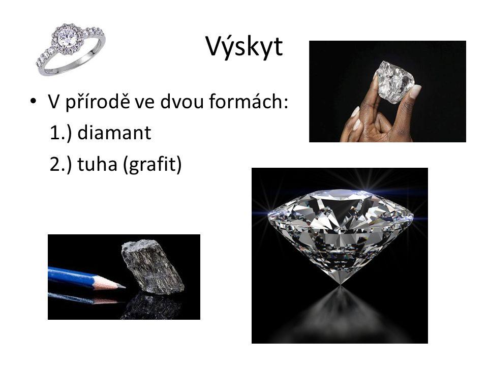 Výskyt V přírodě ve dvou formách: 1.) diamant 2.) tuha (grafit)