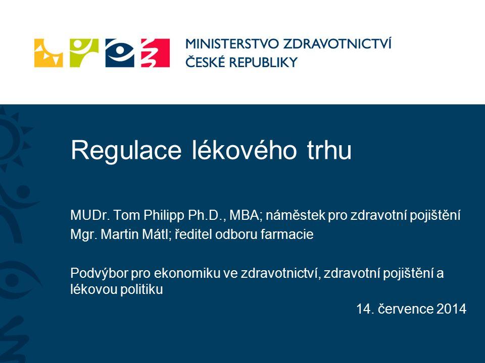 Regulace lékového trhu MUDr. Tom Philipp Ph.D., MBA; náměstek pro zdravotní pojištění Mgr.