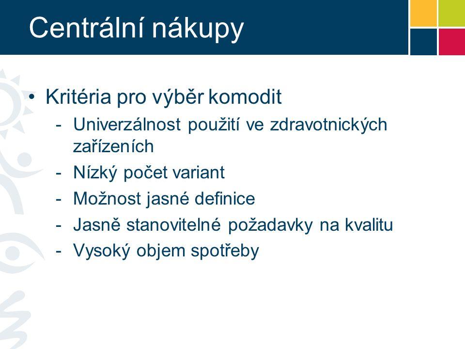 Centrální nákupy Kritéria pro výběr komodit -Univerzálnost použití ve zdravotnických zařízeních -Nízký počet variant -Možnost jasné definice -Jasně stanovitelné požadavky na kvalitu -Vysoký objem spotřeby