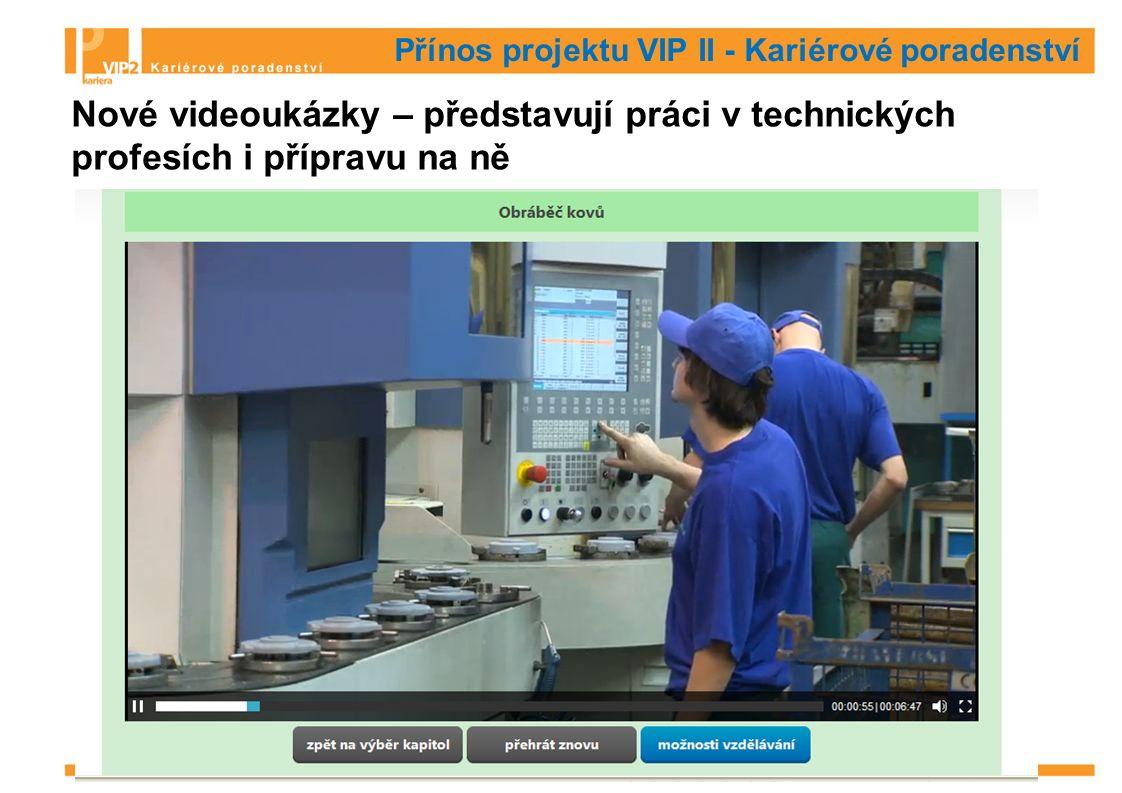 Přínos projektu VIP II - Kariérové poradenství Nové videoukázky – představují práci v technických profesích i přípravu na ně