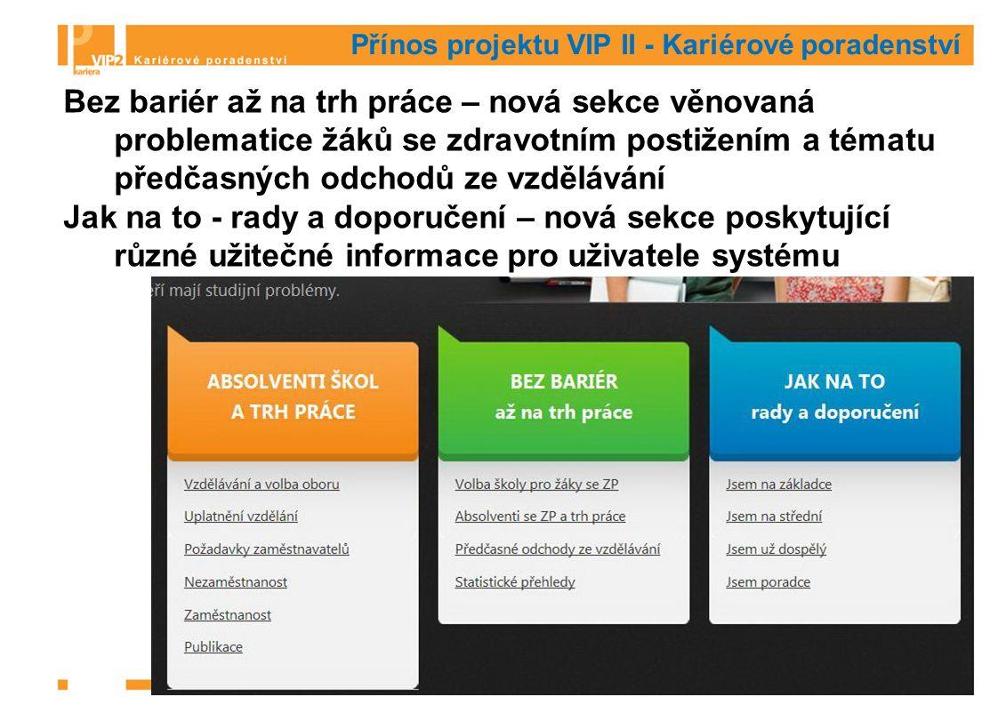 Přínos projektu VIP II - Kariérové poradenství Bez bariér až na trh práce – nová sekce věnovaná problematice žáků se zdravotním postižením a tématu předčasných odchodů ze vzdělávání Jak na to - rady a doporučení – nová sekce poskytující různé užitečné informace pro uživatele systému