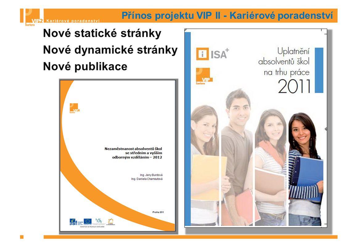 Přínos projektu VIP II - Kariérové poradenství Nové statické stránky Nové dynamické stránky Nové publikace