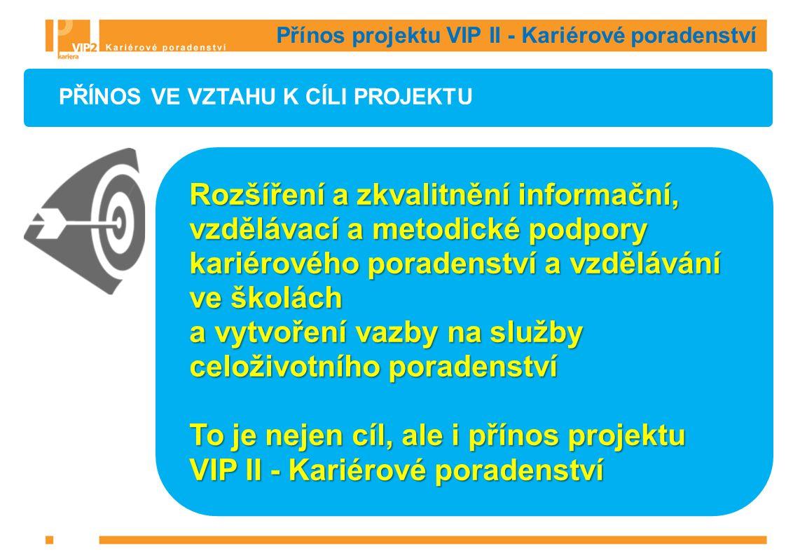 Přínos projektu VIP II - Kariérové poradenství PŘÍNOS VE VZTAHU K CÍLI PROJEKTU Rozšíření a zkvalitnění informační, vzdělávací a metodické podpory kariérového poradenství a vzdělávání ve školách a vytvoření vazby na služby celoživotního poradenství To je nejen cíl, ale i přínos projektu VIP II - Kariérové poradenství