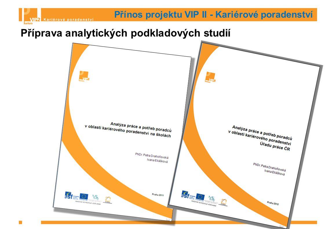 Přínos projektu VIP II - Kariérové poradenství Příprava analytických podkladových studií
