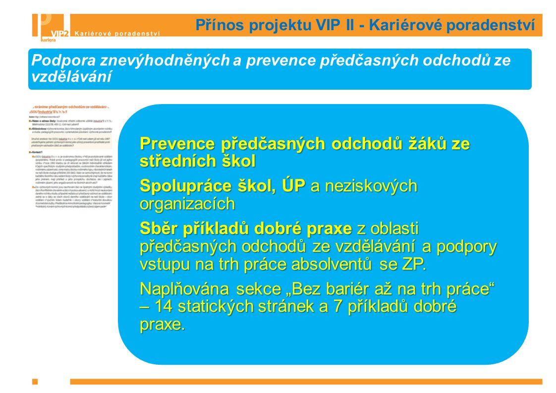 Přínos projektu VIP II - Kariérové poradenství Podpora znevýhodněných a prevence předčasných odchodů ze vzdělávání Prevence předčasných odchodů žáků ze středních škol Spolupráce škol, ÚP a neziskových organizacích Sběr příkladů dobré praxe z oblasti předčasných odchodů ze vzdělávání a podpory vstupu na trh práce absolventů se ZP.
