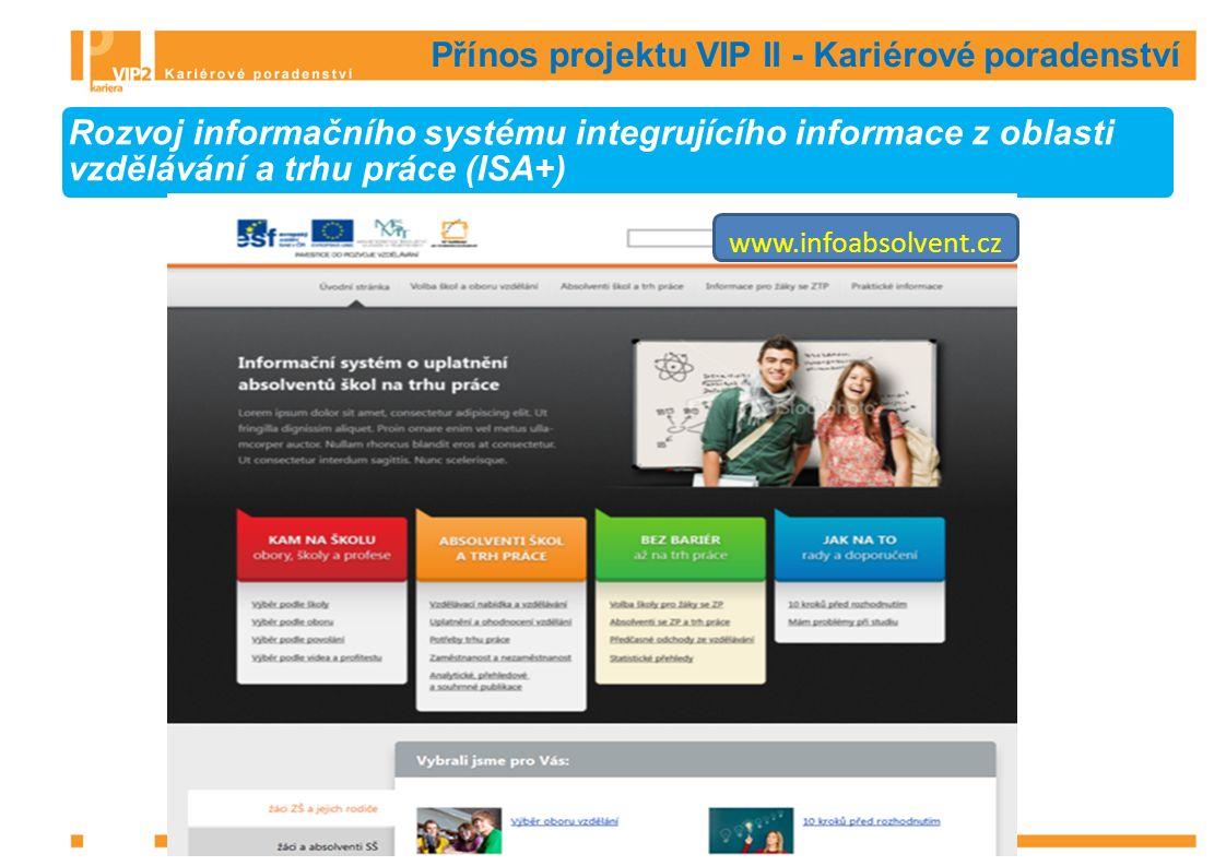 Přínos projektu VIP II - Kariérové poradenství Rozvoj informačního systému integrujícího informace z oblasti vzdělávání a trhu práce (ISA+) www.infoabsolvent.cz