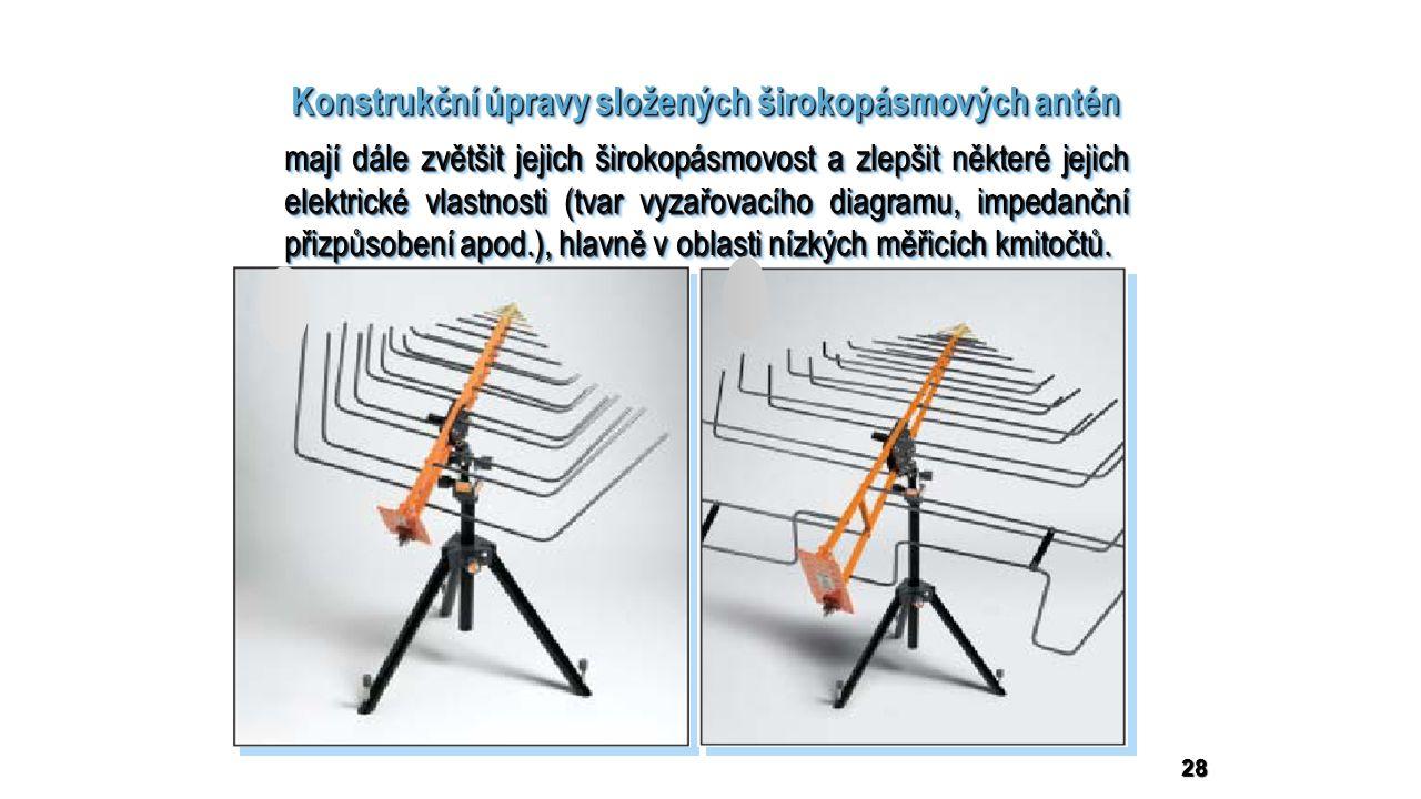 28 Konstrukční úpravy složených širokopásmových antén mají dále zvětšit jejich širokopásmovost a zlepšit některé jejich elektrické vlastnosti (tvar vyzařovacího diagramu, impedanční přizpůsobení apod.), hlavně v oblasti nízkých měřicích kmitočtů.