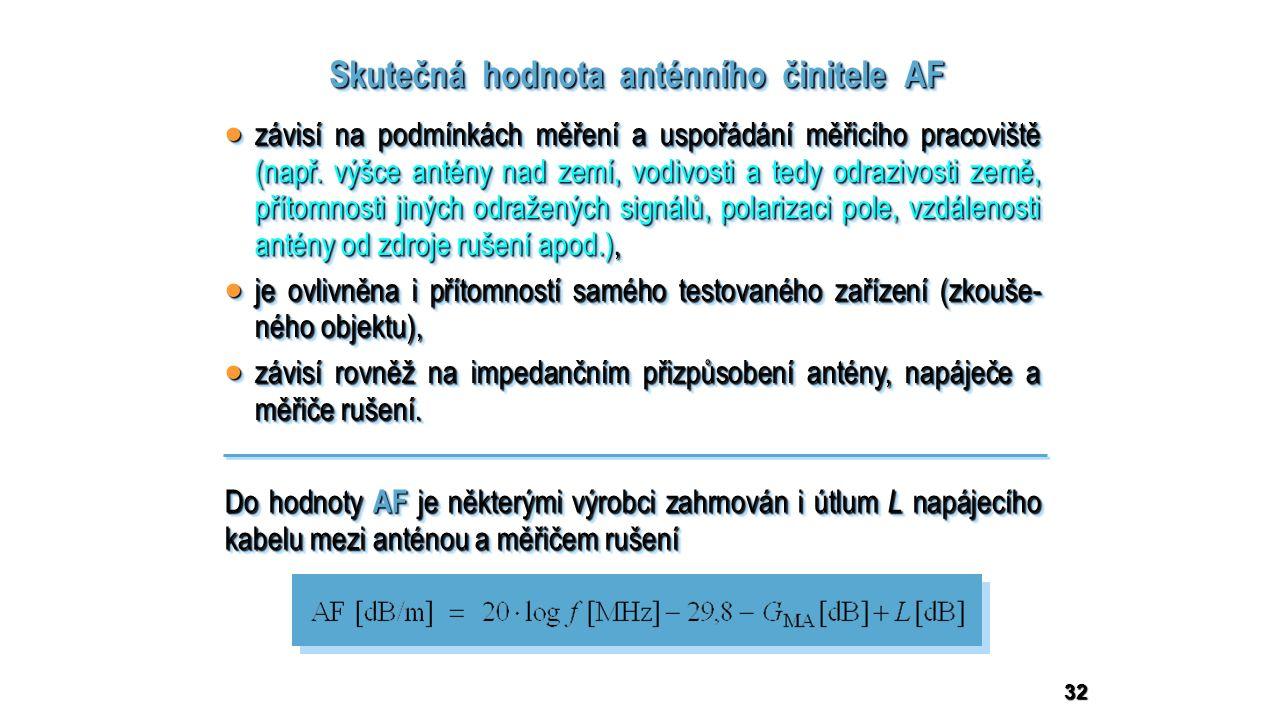 32 Skutečná hodnota anténního činitele AF  závisí na podmínkách měření a uspořádání měřicího pracoviště (např.