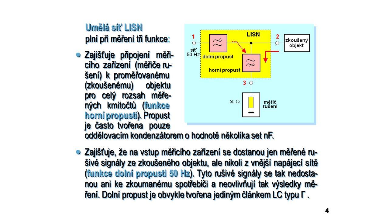 5  Zajišťuje přizpůsobení měřiče rušení k výstupním přístrojovým svor- kám 3 LISN a zajišťuje definovanou hodnotu impedance na výstup- ních síťových svorkách 2.