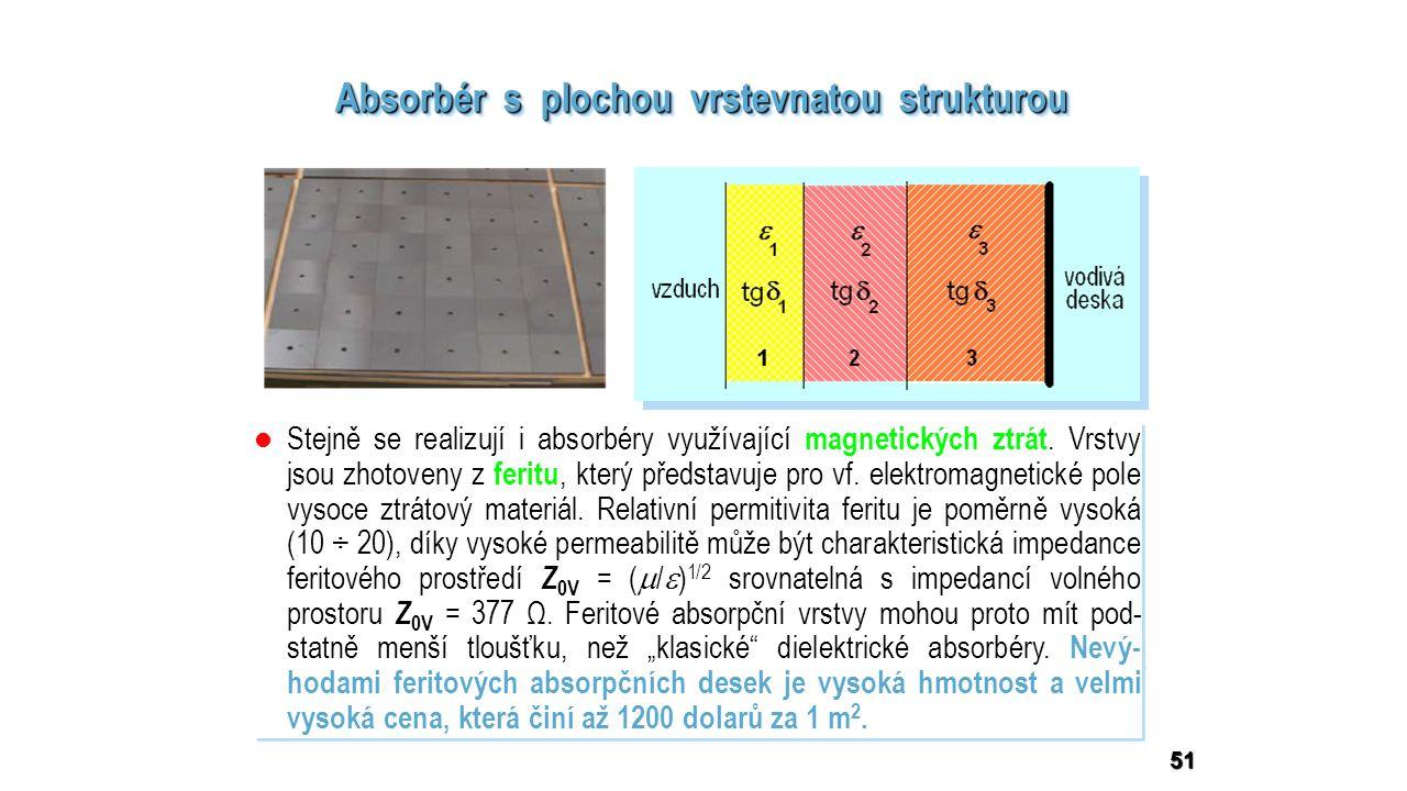 dielektrické materiály vrs- tev mají nízké hodnoty permitivity   <   2 <   dielektrické materiály vrs- tev mají nízké hodnoty permitivity   <   2 <   ztrátové činitele vrstev ma- jí poměrně vysoké hodnoty tg  1 < tg  2 < tg  3 ztrátové činitele vrstev ma- jí poměrně vysoké hodnoty tg  1 < tg  2 < tg  3 dielektrické materiály vrs- tev mají nízké hodnoty permitivity   <   2 <   dielektrické materiály vrs- tev mají nízké hodnoty permitivity   <   2 <   ztrátové činitele vrstev ma- jí poměrně vysoké hodnoty tg  1 < tg  2 < tg  3 ztrátové činitele vrstev ma- jí poměrně vysoké hodnoty tg  1 < tg  2 < tg  3 51 Absorbér s plochou vrstevnatou strukturou vrstvy 1 a 2 realizují impedanční přizpůsobení celého absorbéru k impe- danci volného prostoru Z 0, ve vrstvě 3 zakončené vodivou stěnou se absorbuje většina energie dopadající elektromagnetické vlny vrstvy 1 a 2 realizují impedanční přizpůsobení celého absorbéru k impe- danci volného prostoru Z 0, ve vrstvě 3 zakončené vodivou stěnou se absorbuje většina energie dopadající elektromagnetické vlny desky se vyrábějí jako čtvercové panely s rozměrem 610 x 610 mm, počet dielektrických vrstev bývá 3 až 5, celková tloušťka obkladu závisí na nejnižším kmitočtu, od něhož má působit: pro GHz kmitočtová pásma postačí tloušťka jednotek cm, pro kmitočty od cca 150 MHz musí být celý obklad tlustý aspoň 50 cm.