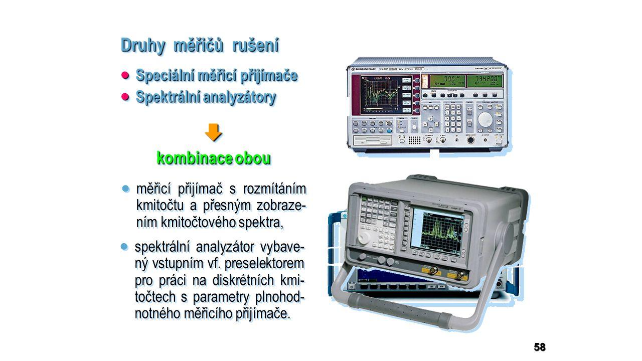 58 Druhy měřičů rušení  kombinace obou   spektrální analyzátor vybave- ný vstupním vf.