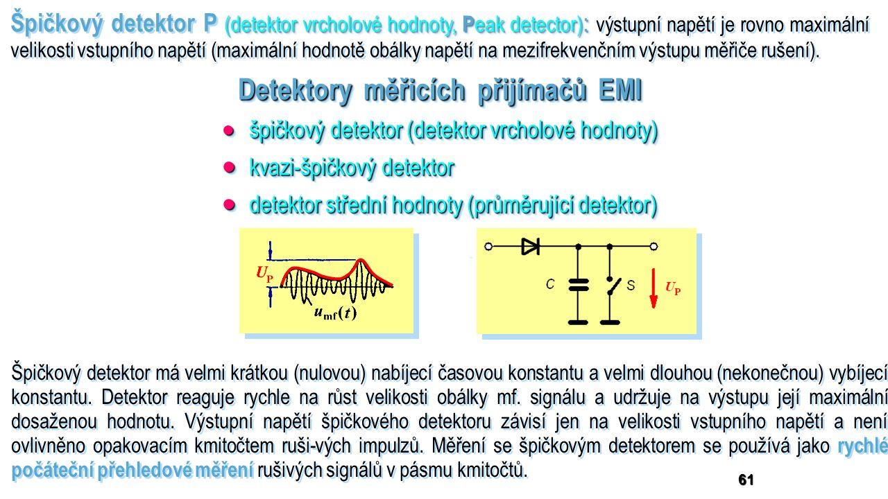 Detektory měřicích přijímačů EMI 61  špičkový detektor (detektor vrcholové hodnoty)  kvazi-špičkový detektor  detektor střední hodnoty (průměrující detektor)  detektor efektivní hodnoty (RMS detektor)  špičkový detektor (detektor vrcholové hodnoty)  kvazi-špičkový detektor  detektor střední hodnoty (průměrující detektor)  detektor efektivní hodnoty (RMS detektor) (detektor vrcholové hodnoty, P eak detector) : Špičkový detektor P (detektor vrcholové hodnoty, P eak detector) : výstupní napětí je rovno maximální velikosti vstupního napětí (maximální hodnotě obálky napětí na mezifrekvenčním výstupu měřiče rušení).