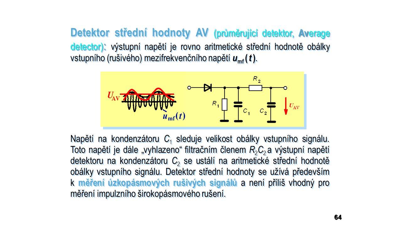 64 (průměrující detektor, Av erage detector) : Detektor střední hodnoty AV (průměrující detektor, Av erage detector) : výstupní napětí je rovno aritmetické střední hodnotě obálky vstupního (rušivého) mezifrekvenčního napětí u mf ( t ).