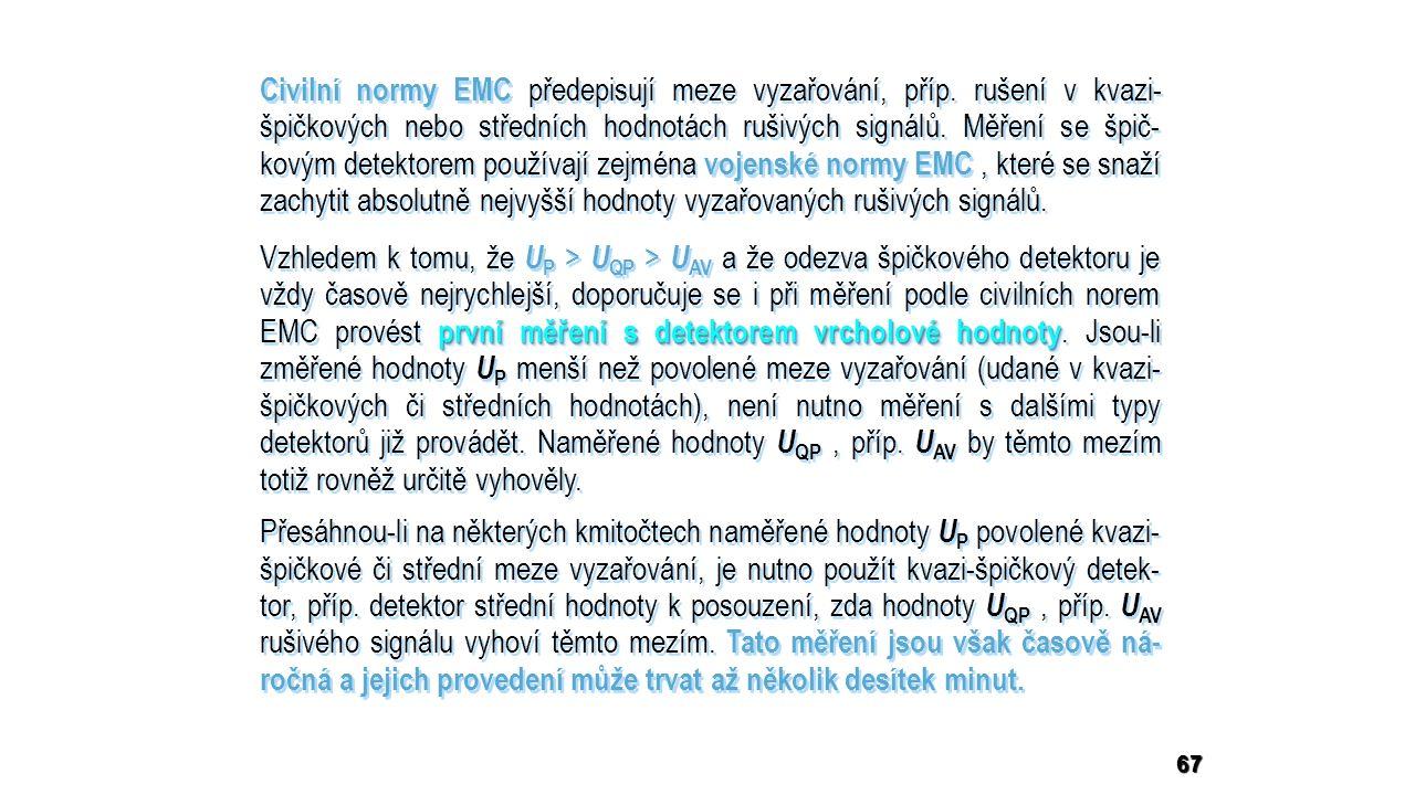 67 Civilní normy EMC předepisují meze vyzařování, příp.