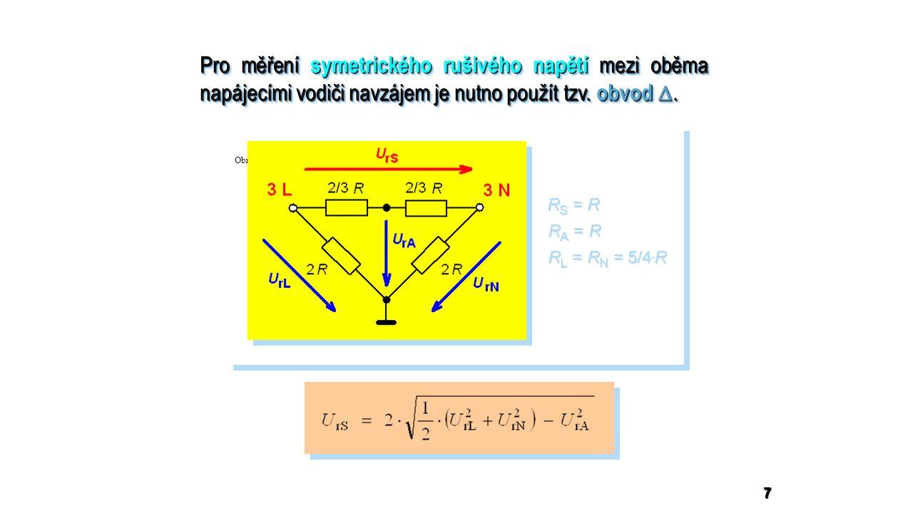 7 Pro měření symetrického rušivého napětí mezi oběma napájecími vodiči navzájem je nutno použít tzv.