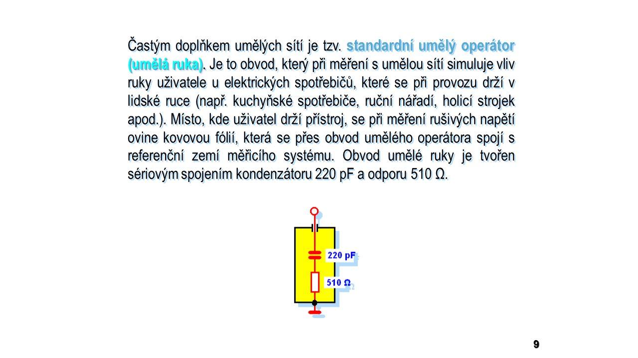 10 Uspořádání pracoviště pro měření rušivého napětí na síťových svorkách zkoušeného objektu ZO Uspořádání pracoviště pro měření rušivého napětí na síťových svorkách zkoušeného objektu ZO MR  Zkoušený objekt ZO s umělou sítí LISN a měřičem rušení MR je umístěn na dřevěném stole tak, aby jeho vzdálenost od LISN byla 80 cm.