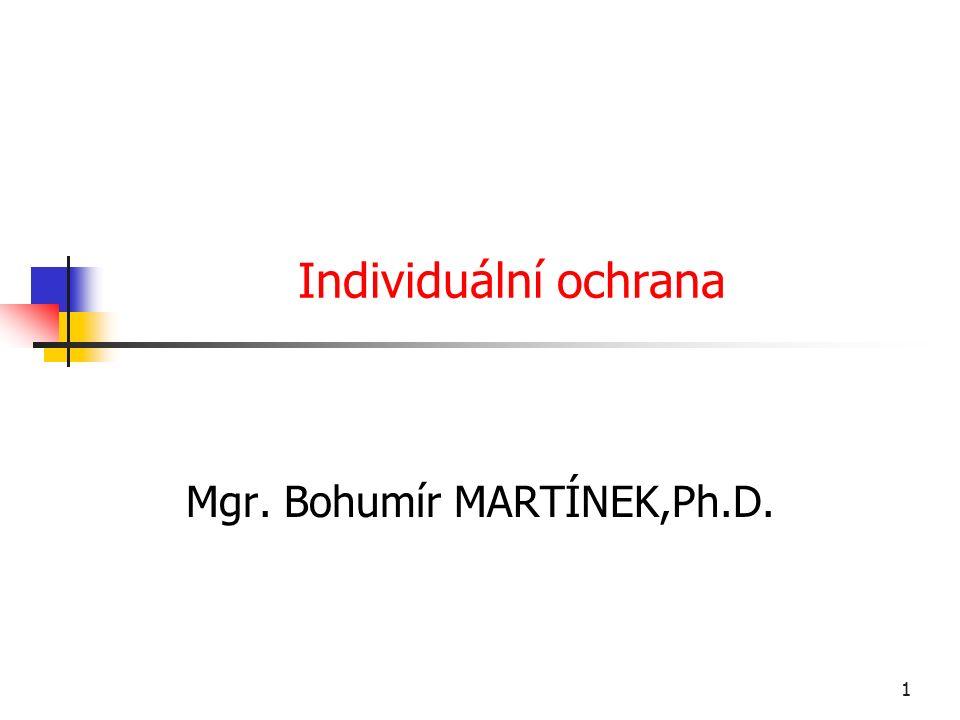 1 Individuální ochrana Mgr. Bohumír MARTÍNEK,Ph.D.