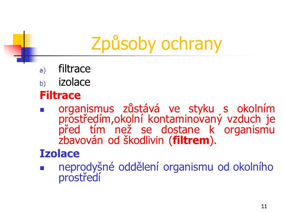 11 Způsoby ochrany a) filtrace b) izolace Filtrace organismus zůstává ve styku s okolním prostředím,okolní kontaminovaný vzduch je před tím než se dostane k organismu zbavován od škodlivin (filtrem).