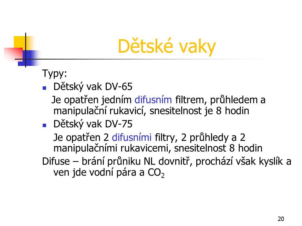 20 Dětské vaky Typy: Dětský vak DV-65 Je opatřen jedním difusním filtrem, průhledem a manipulační rukavicí, snesitelnost je 8 hodin Dětský vak DV-75 Je opatřen 2 difusními filtry, 2 průhledy a 2 manipulačními rukavicemi, snesitelnost 8 hodin Difuse – brání průniku NL dovnitř, prochází však kyslík a ven jde vodní pára a CO 2