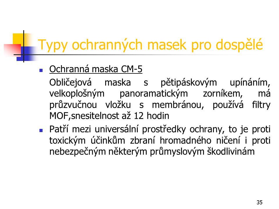 35 Typy ochranných masek pro dospělé Ochranná maska CM-5 Obličejová maska s pětipáskovým upínáním, velkoplošným panoramatickým zorníkem, má průzvučnou vložku s membránou, používá filtry MOF,snesitelnost až 12 hodin Patří mezi universální prostředky ochrany, to je proti toxickým účinkům zbraní hromadného ničení i proti nebezpečným některým průmyslovým škodlivinám