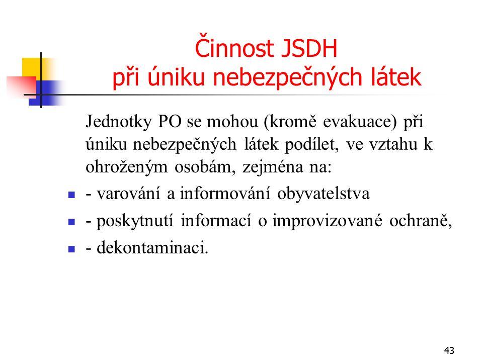 Činnost JSDH při úniku nebezpečných látek Jednotky PO se mohou (kromě evakuace) při úniku nebezpečných látek podílet, ve vztahu k ohroženým osobám, zejména na: - varování a informování obyvatelstva - poskytnutí informací o improvizované ochraně, - dekontaminaci.