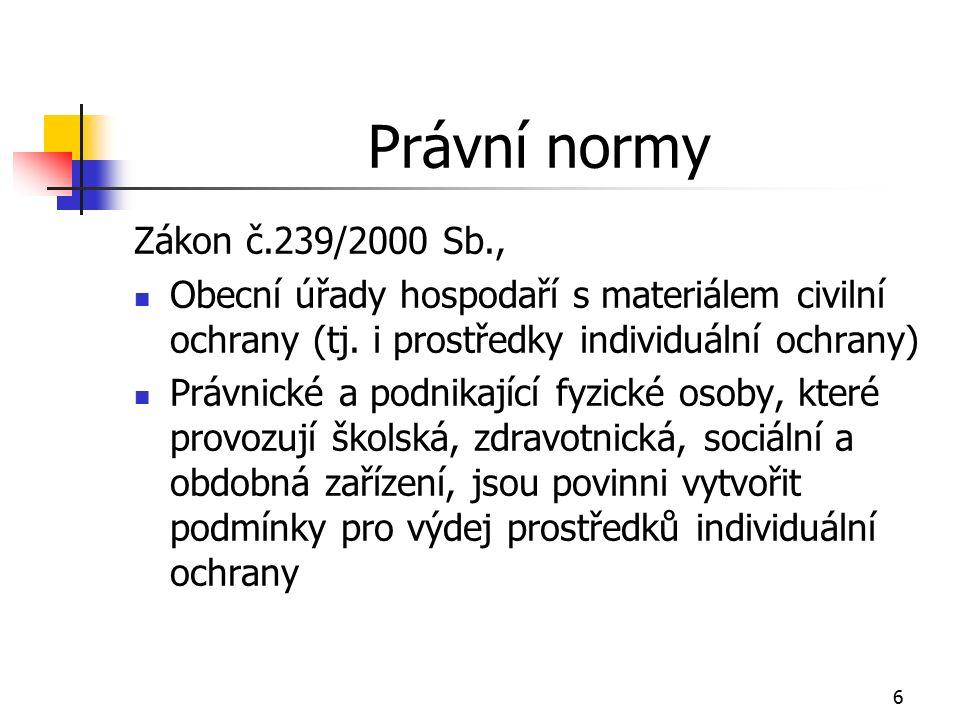 6 Právní normy Zákon č.239/2000 Sb., Obecní úřady hospodaří s materiálem civilní ochrany (tj.