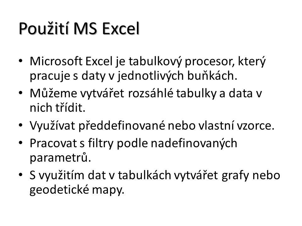 Použití MS Excel Microsoft Excel je tabulkový procesor, který pracuje s daty v jednotlivých buňkách.