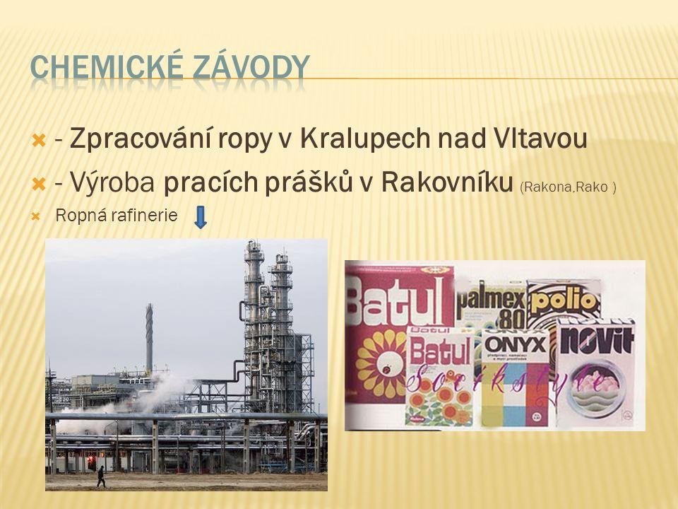  - Zpracování ropy v Kralupech nad Vltavou  - Výroba pracích prášků v Rakovníku (Rakona,Rako )  Ropná rafinerie