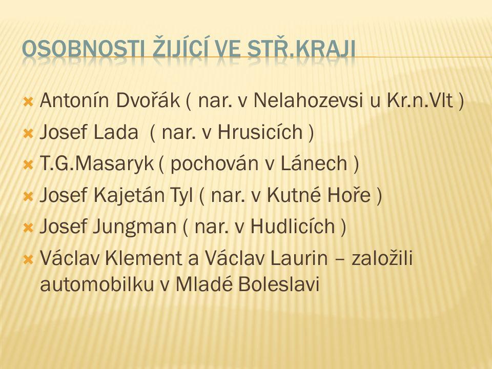  Antonín Dvořák ( nar. v Nelahozevsi u Kr.n.Vlt )  Josef Lada ( nar.