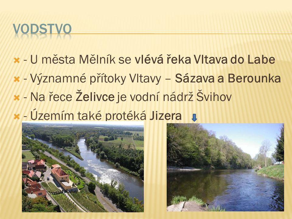 - U města Mělník se vlévá řeka Vltava do Labe  - Významné přítoky Vltavy – Sázava a Berounka  - Na řece Želivce je vodní nádrž Švihov  - Územím také protéká Jizera