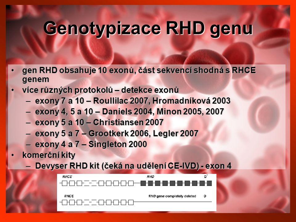 Genotypizace RHD genu gen RHD obsahuje 10 exonů, část sekvencí shodná s RHCE genemgen RHD obsahuje 10 exonů, část sekvencí shodná s RHCE genem více různých protokolů – detekce exonůvíce různých protokolů – detekce exonů –exony 7 a 10 – Roullilac 2007, Hromadníková 2003 –exony 4, 5 a 10 – Daniels 2004, Minon 2005, 2007 –exony 5 a 10 – Christiansen 2007 –exony 5 a 7 – Grootkerk 2006, Legler 2007 –exony 4 a 7 – Singleton 2000 komerční kitykomerční kity –Devyser RHD kit (čeká na udělení CE-IVD) - exon 4