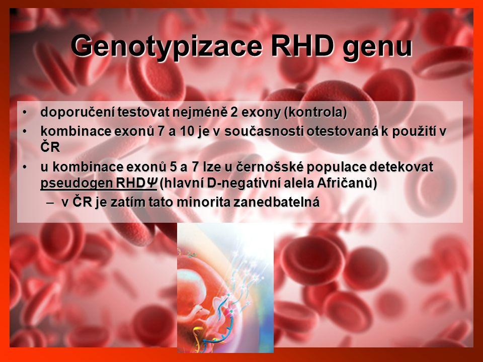 Genotypizace RHD genu doporučení testovat nejméně 2 exony (kontrola)doporučení testovat nejméně 2 exony (kontrola) kombinace exonů 7 a 10 je v současnosti otestovaná k použití v ČRkombinace exonů 7 a 10 je v současnosti otestovaná k použití v ČR u kombinace exonů 5 a 7 lze u černošské populace detekovat pseudogen RHDΨ (hlavní D-negativní alela Afričanů)u kombinace exonů 5 a 7 lze u černošské populace detekovat pseudogen RHDΨ (hlavní D-negativní alela Afričanů) –v ČR je zatím tato minorita zanedbatelná
