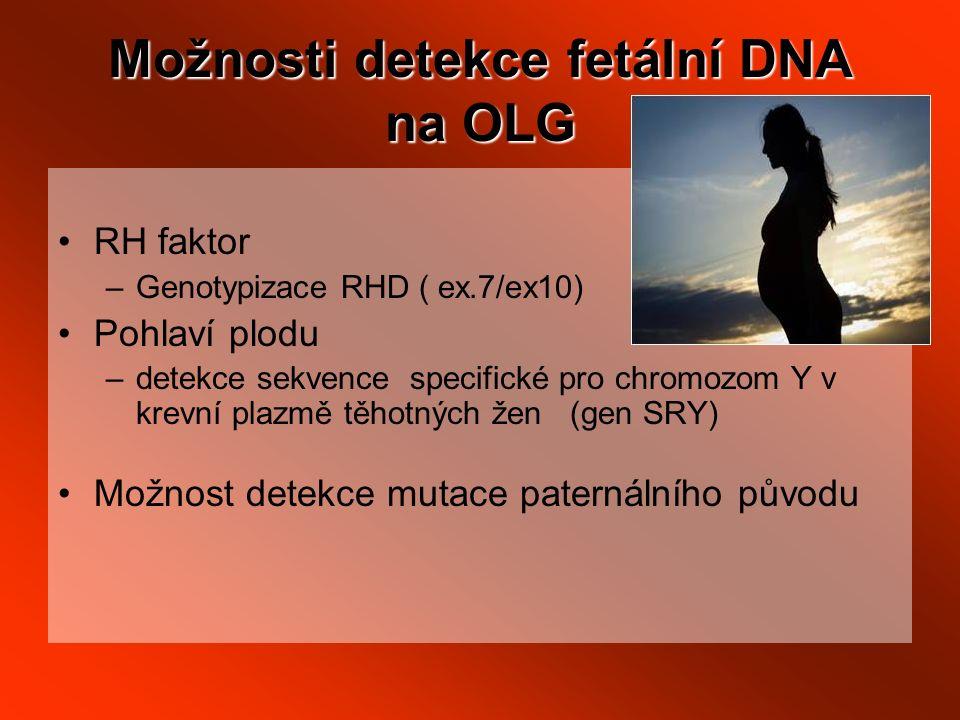 Možnosti detekce fetální DNA na OLG RH faktor –Genotypizace RHD ( ex.7/ex10) Pohlaví plodu –detekce sekvence specifické pro chromozom Y v krevní plazmě těhotných žen (gen SRY) Možnost detekce mutace paternálního původu