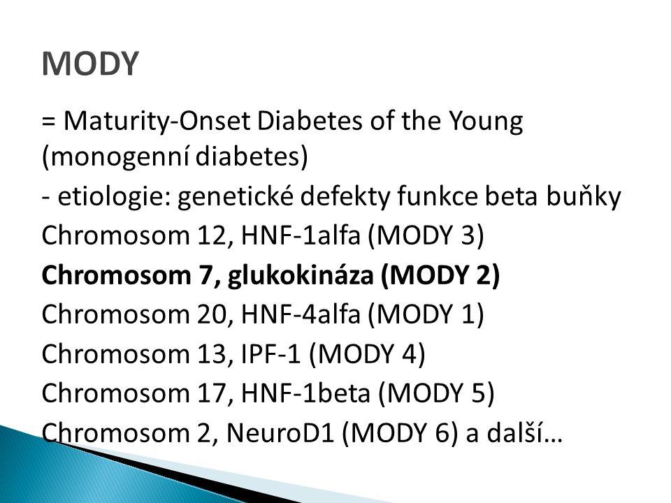 = Maturity-Onset Diabetes of the Young (monogenní diabetes) - etiologie: genetické defekty funkce beta buňky Chromosom 12, HNF-1alfa (MODY 3) Chromosom 7, glukokináza (MODY 2) Chromosom 20, HNF-4alfa (MODY 1) Chromosom 13, IPF-1 (MODY 4) Chromosom 17, HNF-1beta (MODY 5) Chromosom 2, NeuroD1 (MODY 6) a další…