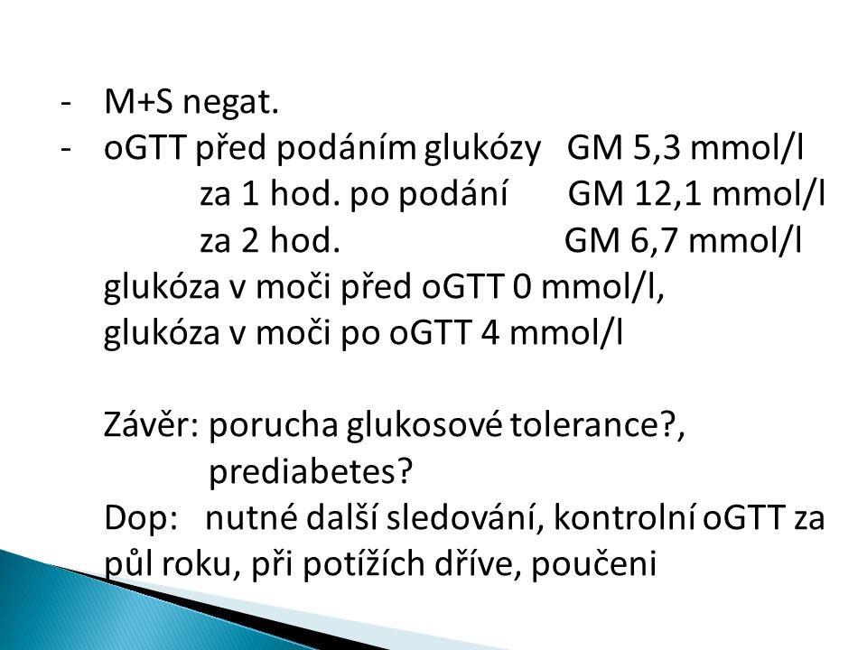 -M+S negat. -oGTT před podáním glukózy GM 5,3 mmol/l za 1 hod.