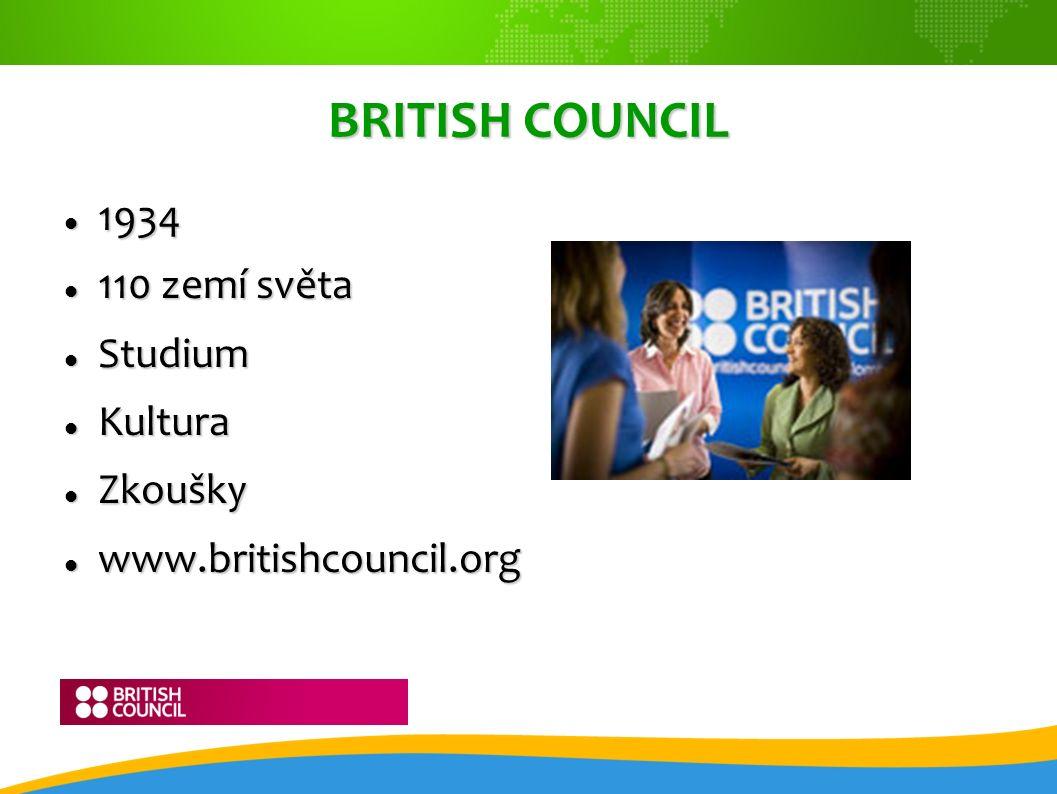 BRITISH COUNCIL 1934 1934 110 zemí světa 110 zemí světa Studium Studium Kultura Kultura Zkoušky Zkoušky www.britishcouncil.org www.britishcouncil.org