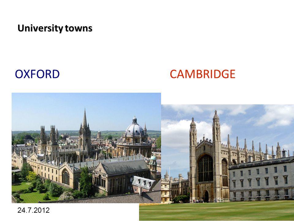 Kliknutím lze upravit styl předlohy. 24.7.2012 University towns OXFORD CAMBRIDGE