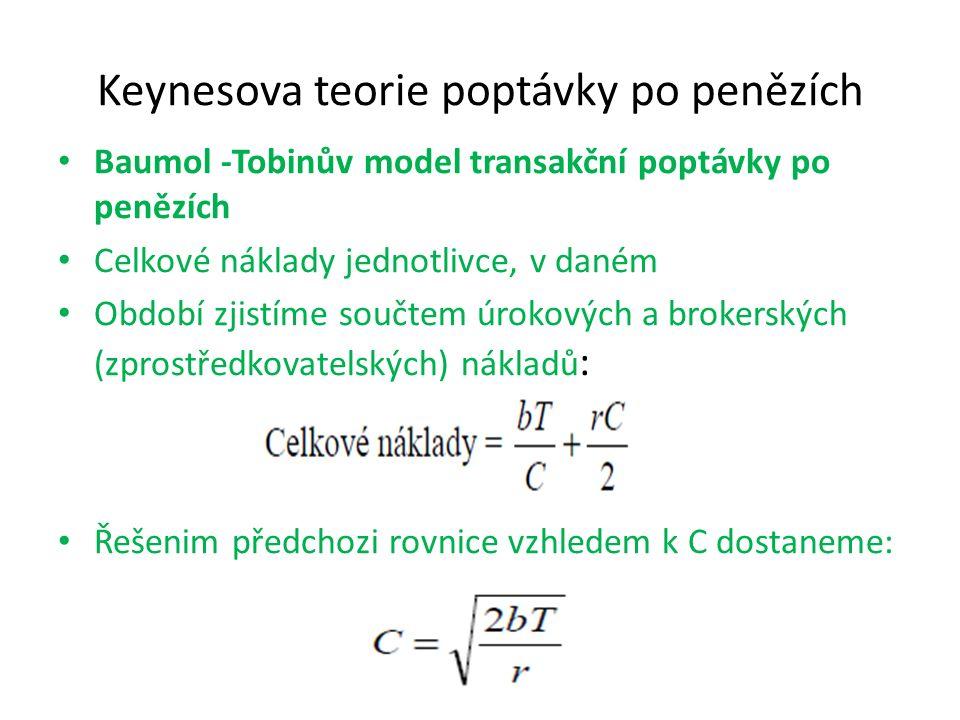 Keynesova teorie poptávky po penězích Baumol -Tobinův model transakční poptávky po penězích Celkové náklady jednotlivce, v daném Období zjistíme součt