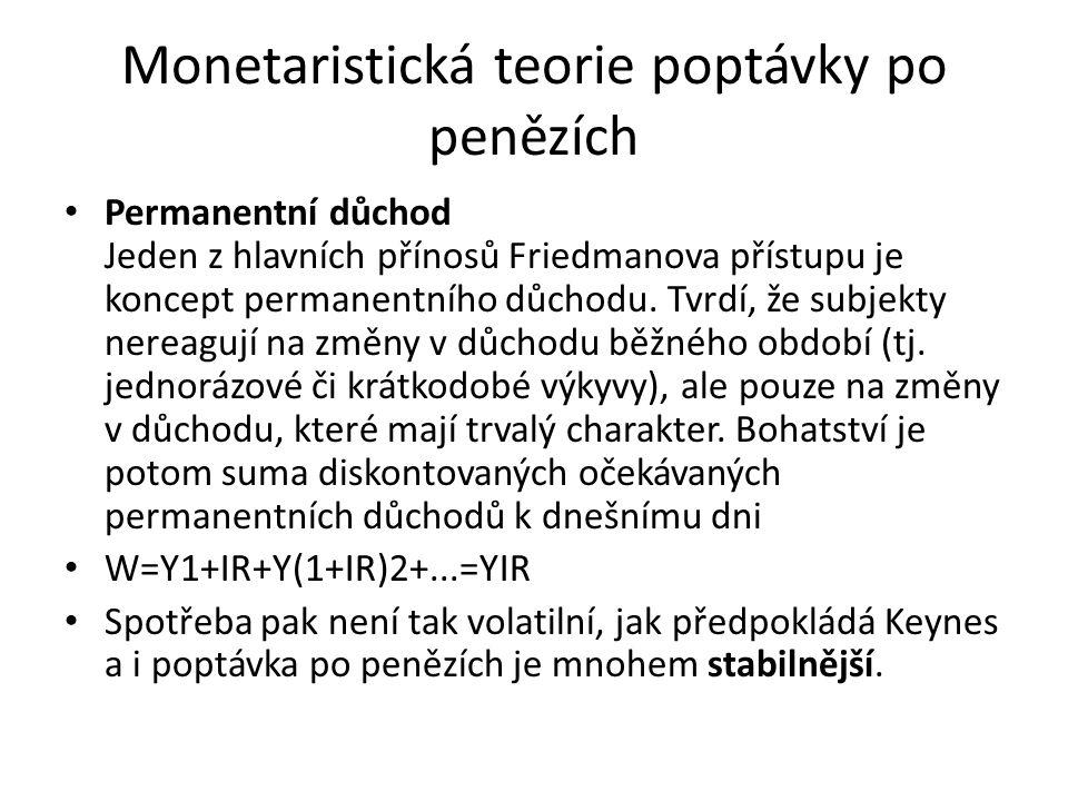 Monetaristická teorie poptávky po penězích Permanentní důchod Jeden z hlavních přínosů Friedmanova přístupu je koncept permanentního důchodu. Tvrdí, ž