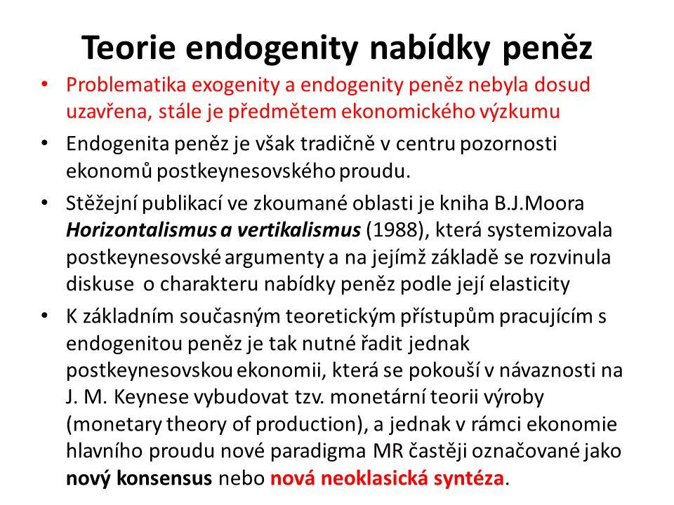 Teorie endogenity nabídky peněz Problematika exogenity a endogenity peněz nebyla dosud uzavřena, stále je předmětem ekonomického výzkumu Endogenita peněz je však tradičně v centru pozornosti ekonomů postkeynesovského proudu.