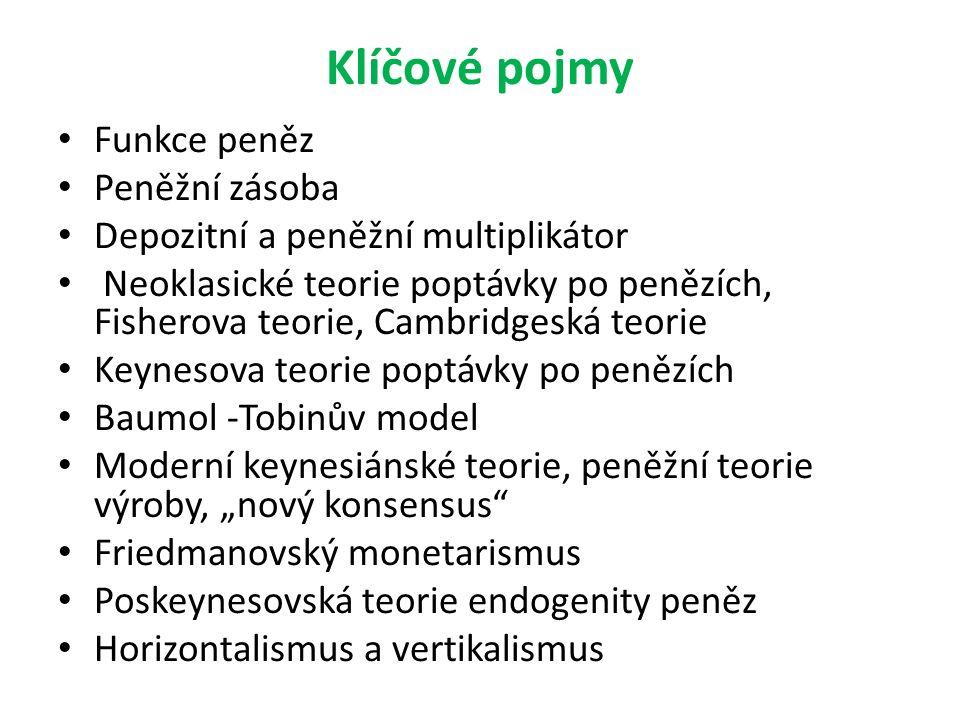 """Klíčové pojmy Funkce peněz Peněžní zásoba Depozitní a peněžní multiplikátor Neoklasické teorie poptávky po penězích, Fisherova teorie, Cambridgeská teorie Keynesova teorie poptávky po penězích Baumol -Tobinův model Moderní keynesiánské teorie, peněžní teorie výroby, """"nový konsensus Friedmanovský monetarismus Poskeynesovská teorie endogenity peněz Horizontalismus a vertikalismus"""