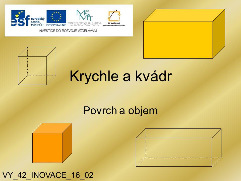 Krychle a kvádr Povrch a objem VY_42_INOVACE_16_02