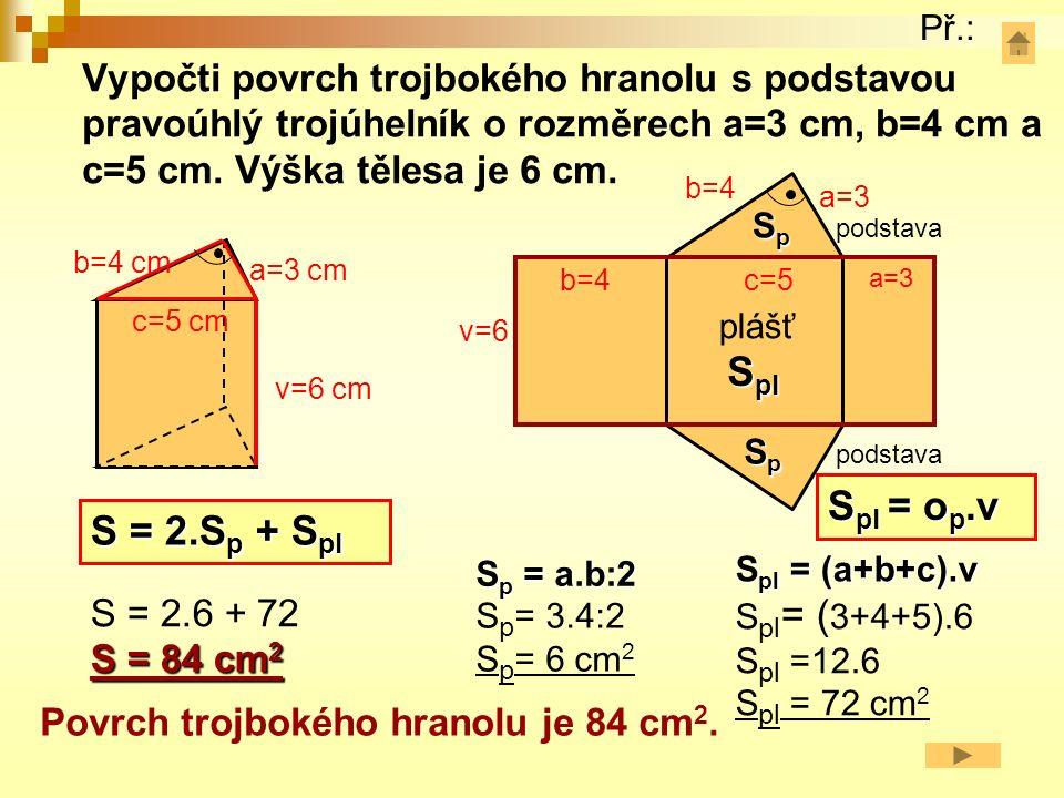 Vypočti povrch čtyřbokého hranolu s podstavou lichoběžník (základna a=2,5 cm a c=1 cm, ramena b=d=1,5 cm a výška v a =1,4 cm).