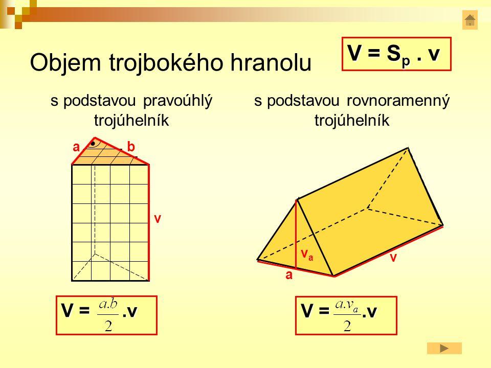 Vypočti objem trojbokého hranolu s tělesovou výškou v = 10 cm a s podstavou tvaru trojúhelníku se stranou a = 7 cm a příslušnou výškou v a = 4,6 cm.