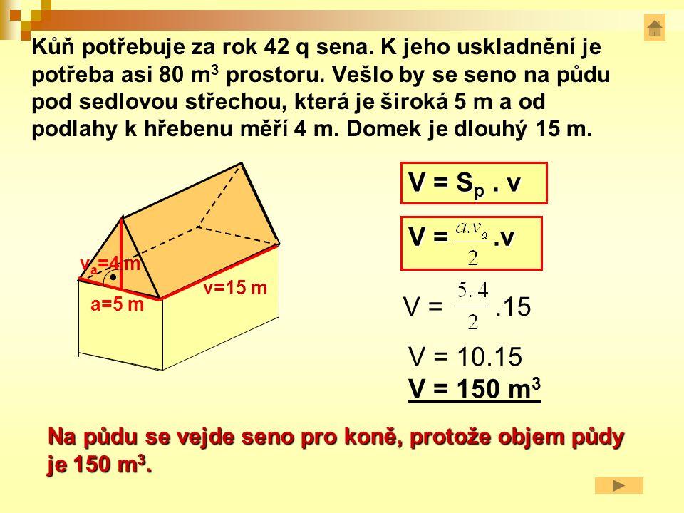 Objem čtyřbokého hranolu s podstavou lichoběžník V = S p. v a v vava c v c a vava V =. v a c vava v