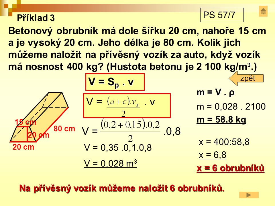 Pravidelný čtyřboký hranol V = S p.